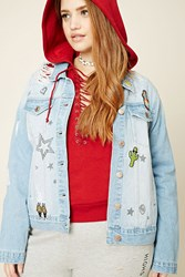Forever 21 Plus Size Denim Patch Jacket Light Denim