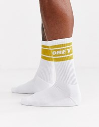 Obey Cooper Ii Socks In White And Yellow