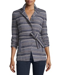 Veronica Beard Pamona Surplice Tweed Jacket Ivory Navy Ivory Navy