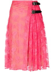 Christopher Kane Neon Lace Kilt Pink And Purple