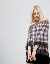 Hazel Off Shoulder Checked Blouse With Lace Trim Pink