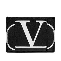 Valentino Go Logo Leather Card Holder Black