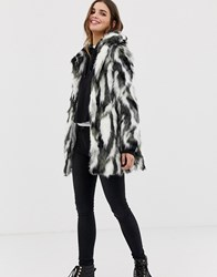 Qed London Abstract Animal Faux Fur Coat Black And White