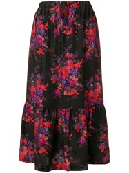 Mcq By Alexander Mcqueen Floral Flared Skirt Black