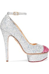 Charlotte Olympia Kiss Me Dolores Glittered Canvas Platform Pumps Silver
