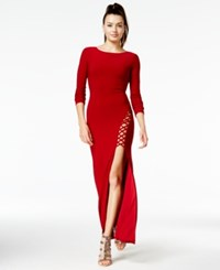 Trixxi Juniors' Long Sleeve Cutout Bodycon Gown Red