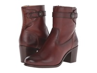 Frye Malorie Button Short Redwood Smooth Vintage Leather Cowboy Boots Burgundy