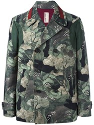 Antonio Marras Floral Print Biker Jacket Green