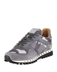 Valentino Rockrunner Men's Camo Print Suede And Nylon Sneaker Gray