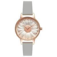 Olivia Burton Women's Flower Show 3D Daisy Leather Strap Watch Grey