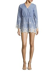 Clich Embroidered Short Jumpsuit Chambray