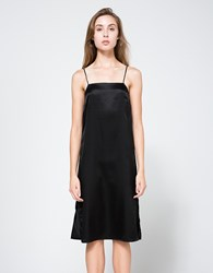 Matin Silk Square Neck Dress Black