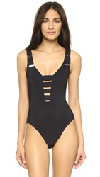 Karla Colletto Strappy One Piece Swimsuit Black