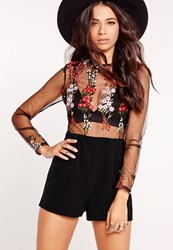 Missguided Embroidered Long Sleeve Playsuit Black Black