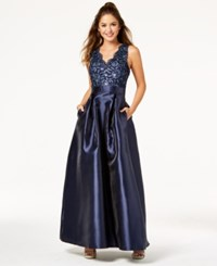 Trixxi Juniors' Sequined Lace Gown Navy