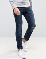 New Look Slim Jeans With Rips In Blue Black Wash Blue