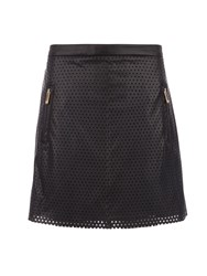 Morgan Leather Style Skirt With Cut Out Design Black