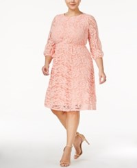 Ing Trendy Plus Size Lace A Line Dress Pale Pink