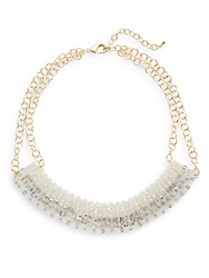 Saks Fifth Avenue Beaded Collar Statement Necklace Grey
