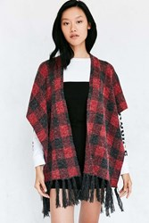 Urban Outfitters Geo Knit Poncho Red