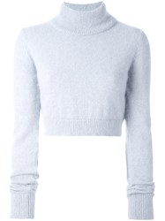 Balmain Cropped Roll Neck Jumper Blue