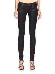 Saint Laurent Coated Skinny Jeans Shiny Coated Black