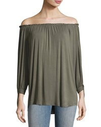 Neiman Marcus Off The Shoulder Peasant Top Olive