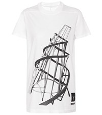Rick Owens Drkshdw Printed Cotton T Shirt White