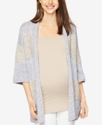 A Pea In The Pod Open Front Cardigan Blue Gray Stripe