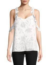Ellen Tracy Ruffled Sleeveless Printed Top Shadow