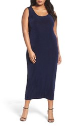Vikki Vi Plus Size Women's Sleeveless Maxi Tank Dress Navy