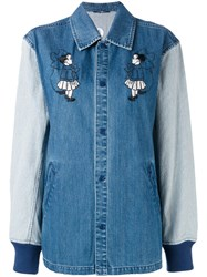 Opening Ceremony Contrast Sleeve Coach Jacket Women Cotton S Blue