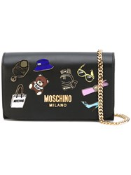 Moschino Badge Applique Wallet On Chain Bag Women Leather One Size Black