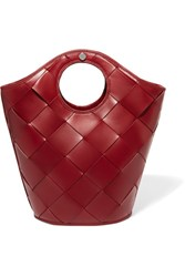 Elizabeth And James Market Small Woven Leather Tote Claret