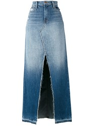 J Brand Front Slit Denim Skirt Women Cotton 28 Blue