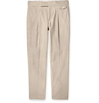 Caruso Tapered Pleated Cotton Blend Corduroy Trousers Neutrals