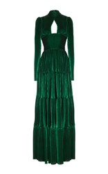 Rasario Long Sleeve Cut Out Front Velvet Gown Green