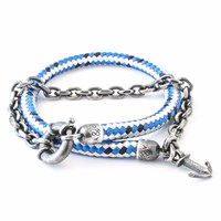 Anchor And Crew Blue Dash Barmouth Rope Bracelet