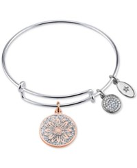 Unwritten Two Tone Life In Full Bloom Glitter Bangle Bracelet In Rose Gold Tone And Stainless Steel Silver Rose Gold