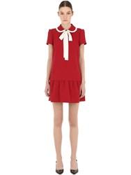 Red Valentino Contrasting Bow Crepe Mini Dress Array 0X5888578