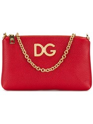 Dolce And Gabbana Logo Chain Clutch Red