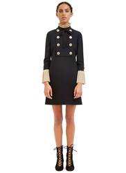Gucci Pleated Ruffle Military Mini Dress Black