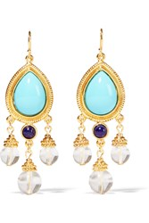 Ben Amun Gold Tone Stone And Bead Earrings Blue