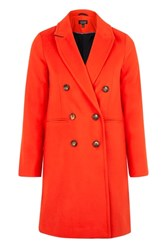 Topshop Slim Fit Double Breasted Coat Red