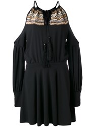 Wandering Cold Shoulder Beaded Dress Women Polyester Spandex Elastane Wood 40 Black