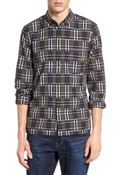 French Connection Men's Slim Fit Ikat Check Sport Shirt Tarmac