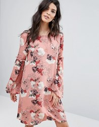 Vila Floral Ruffle Detail Dress Rose Pink
