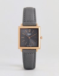 Henry London Square Leather Watch In Grey 26Mm Pink