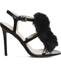Office Hurrah Pom Pom Patent Sandals Black Patent