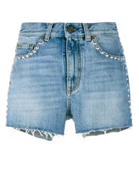 Saint Laurent Studded Denim Shorts Blue Denim